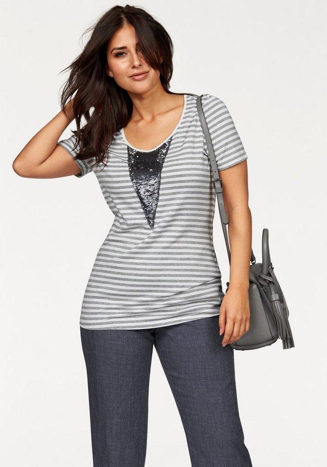 Apart T-Shirt Plus Size mit Pailetteneinsatz in gestreift-grau-meliert-ecru