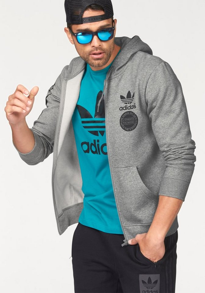 adidas Originals STRIPE GRAPH FLEECEZIP Kapuzensweatjacke in Grau