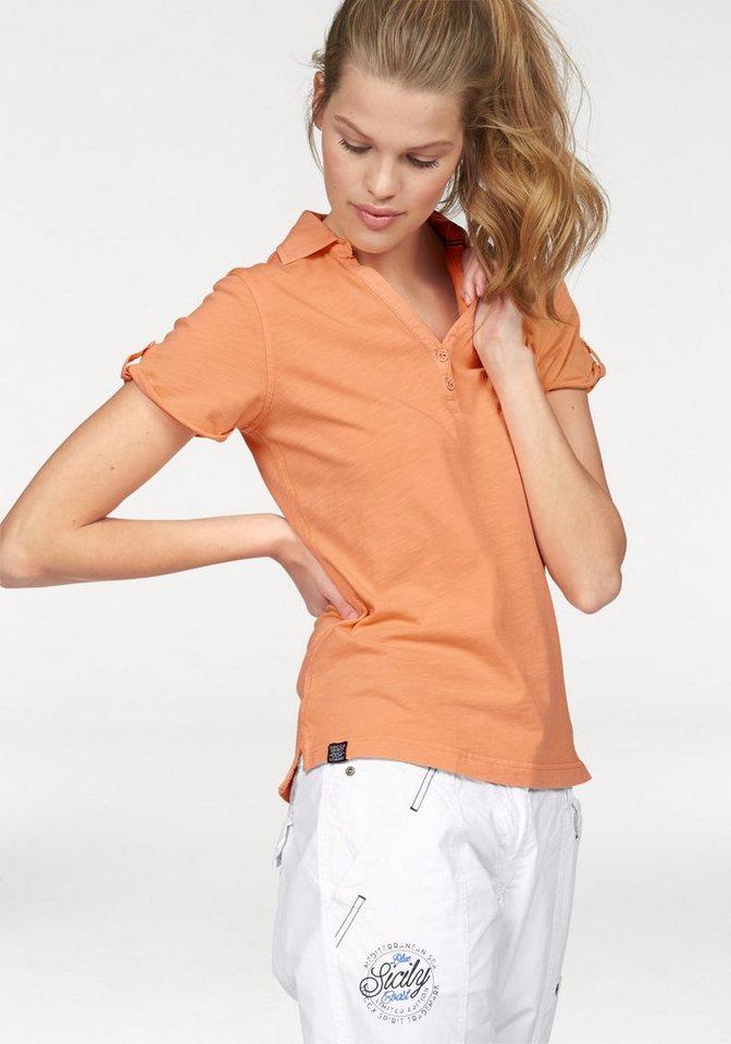 SOCCX Poloshirt aufwendig verarbeitet in orange