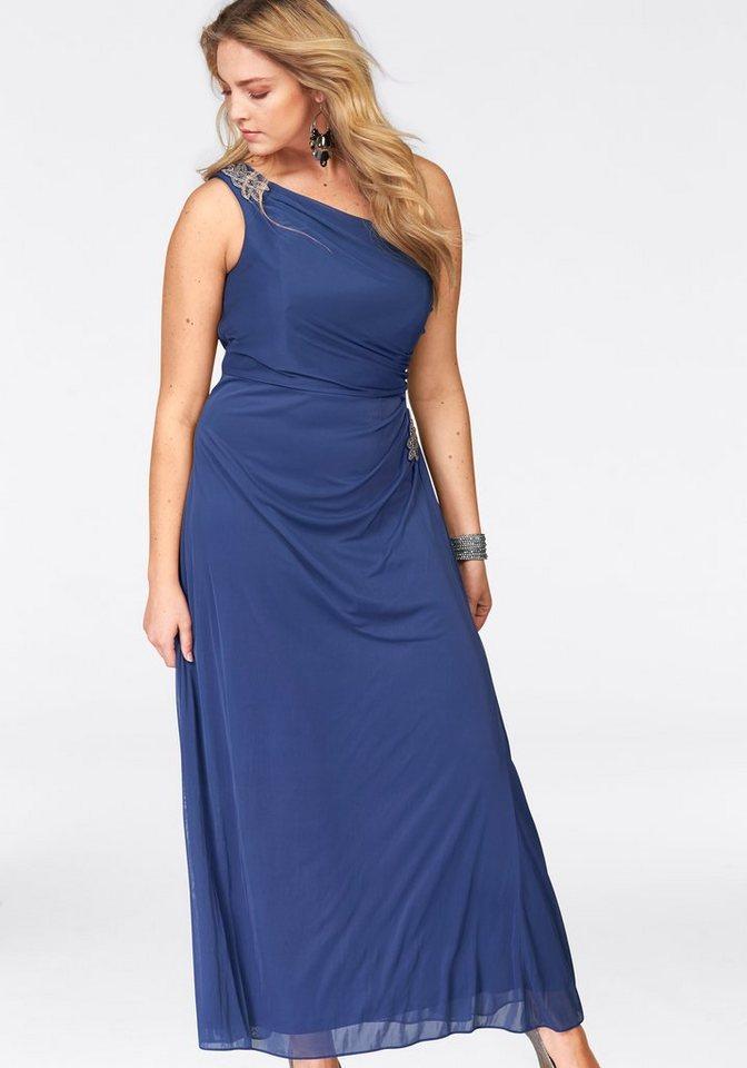 Junarose Abendkleid mit aparten unterschiedlichen sillber-farbenen Schmucksteinen in royalblau