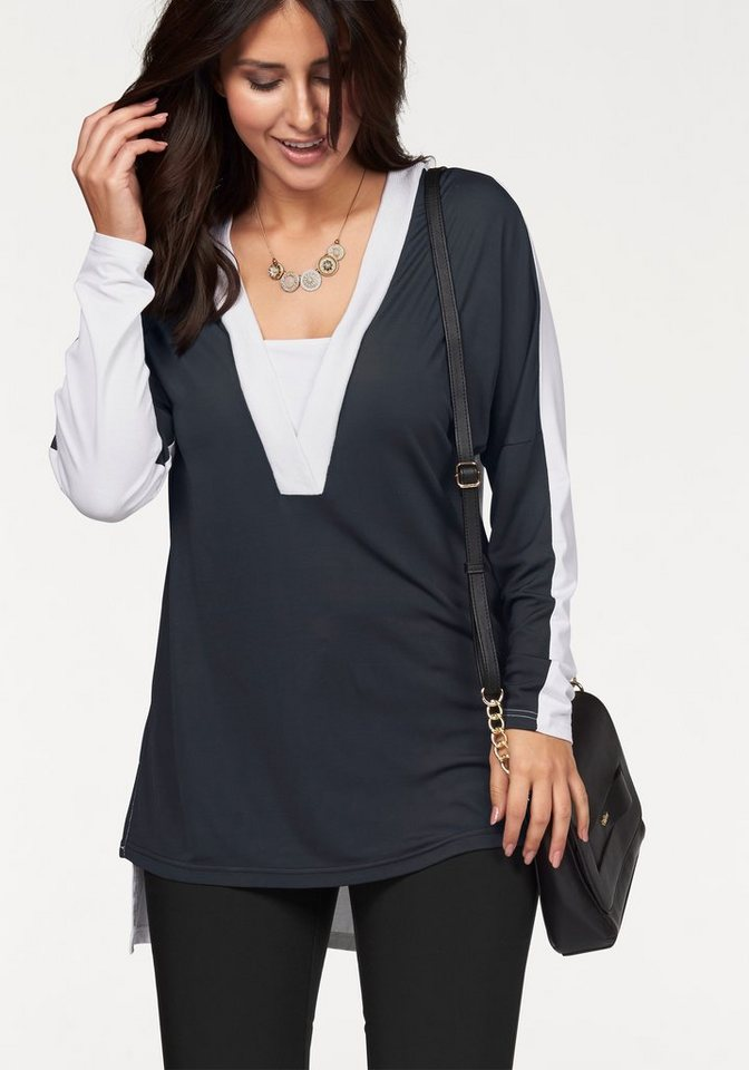Apart Tunikashirt Plus Size mit V-Ausschnitt in Color Blocking in colorblocking-black-ecru
