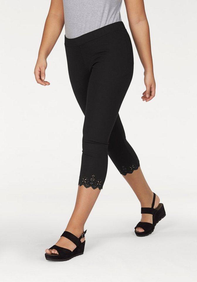Apart Leggings Plus Size mit modischer Laser Cut Bordüre in schwarz