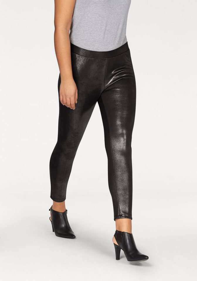 Apart Leggings Plus Size mit Glanzeffekt in braun
