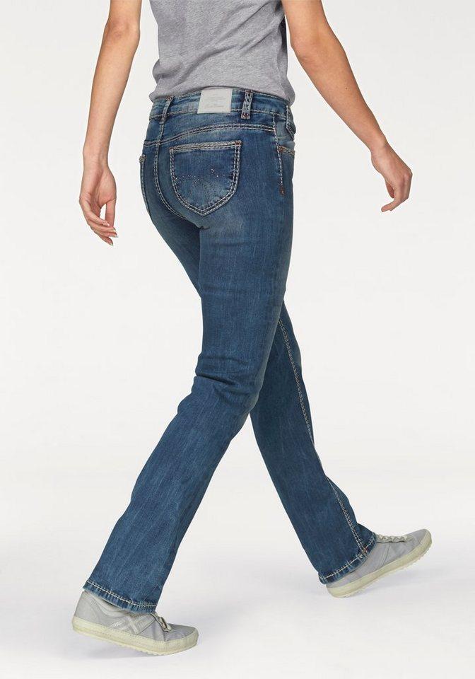 SOCCX Stretch-Jeans aufwendig verarbeitet in blue-used