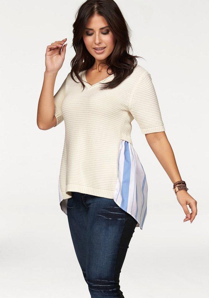 Apart V-Ausschnitt-Pullover Plus Size im Rückenteil mit Webeinsatz in ecru