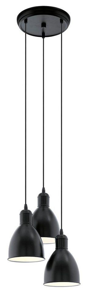 Eglo Pendelleuchte, 3flg., »PRIDDY« in Stahl, schwarz, innen weiß