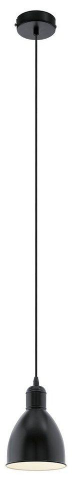 Eglo Pendelleuchte, 1flg., »PRIDDY« in Stahl, schwarz, innen weiß kupferfarben-antik, schwarz