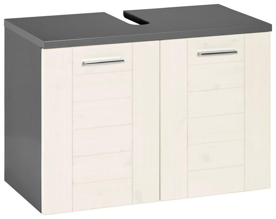 Schildmeyer Waschbeckenunterschrank »Riga« in basaltgrau-weiß