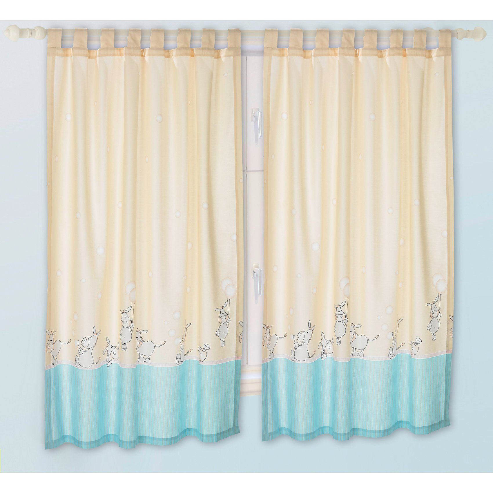 Alvi Vorhang Set Esel beige je 130 x 150 cm (2 Schals)