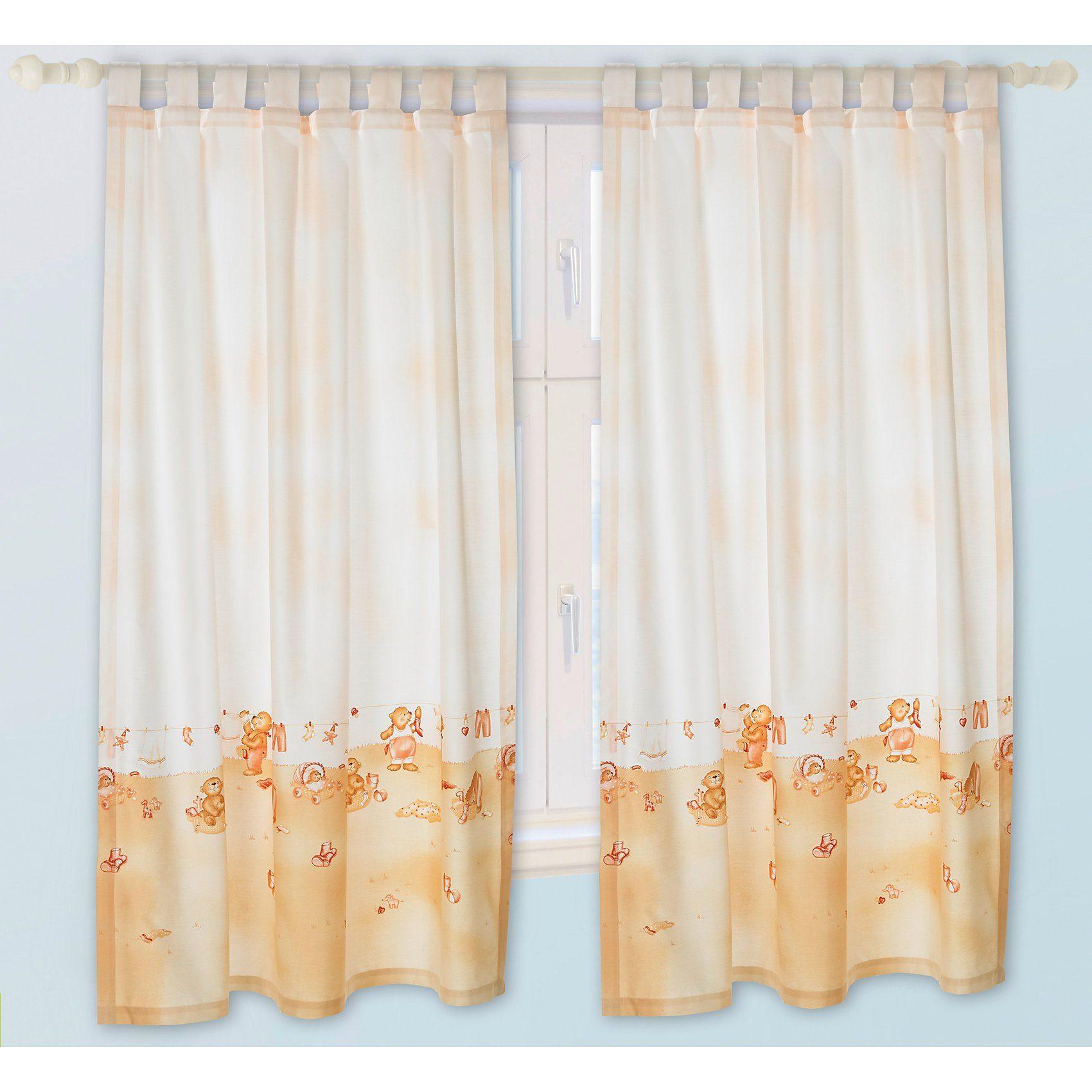 Alvi Vorhang Set Busy Bär beige je 130 x 150 cm (2 Schals)