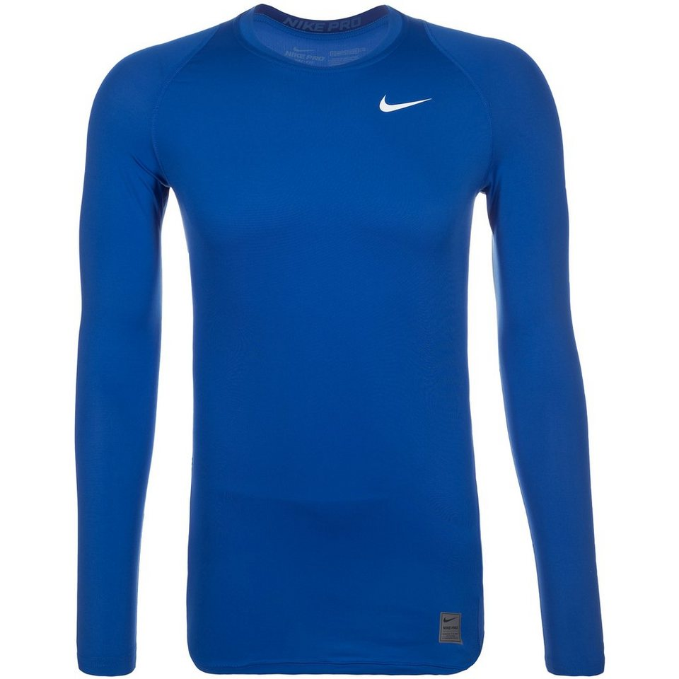 NIKE Pro Dry Compression Trainingsshirt Herren in blau / weiß
