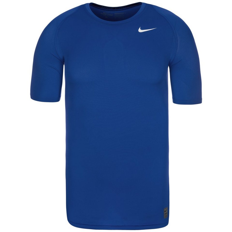 NIKE Pro Dry Compression Trainingsshirt Herren in blau / weiß