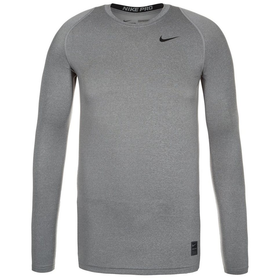 NIKE Pro Dry Compression Trainingsshirt Herren in grau / schwarz
