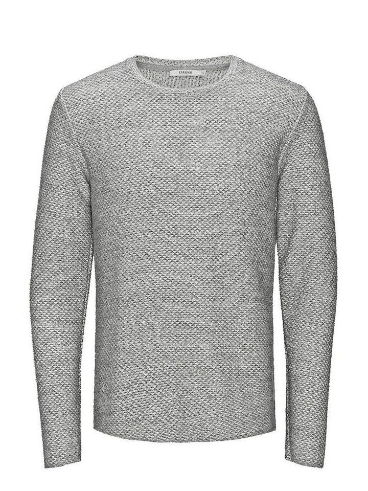 Jack & Jones Strukturmuster- Sweatshirt in Light Grey Melange