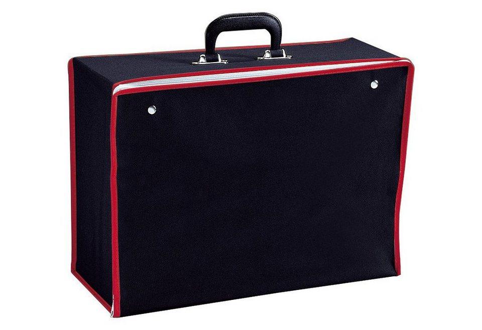 Nähmaschinen-Faltkoffer (Innenmaße: H/B/T: ca. 32,3/45,7/17,9 cm) für viele Nähmaschinentypen in schwarz