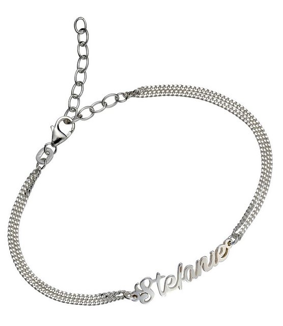 firetti Armschmuck: Namenskette als Armband in Panzerkettengliederung mit gratis Gravur | Schmuck > Halsketten > Ketten mit Gravur | Firetti