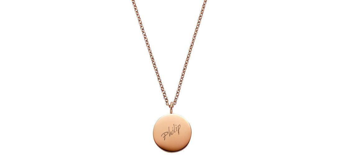 firetti Halsschmuck: Halskette in Ankerkettengliederung mit gratis Gravur, »Gravur-Platte«