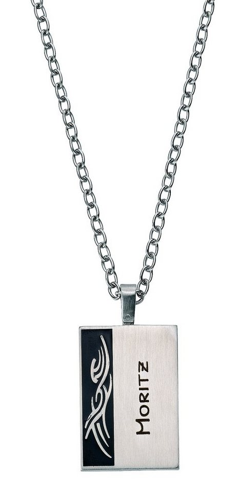 firetti Halsschmuck: Halskette in Ankerkettengliederung mit gratis Gravur, »Gravur-Platte Tribal« in silberfarben/schwarz