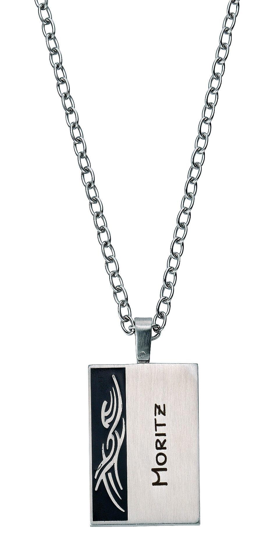 firetti Halsschmuck: Halskette in Ankerkettengliederung mit gratis Gravur, »Gravur-Platte Tribal«
