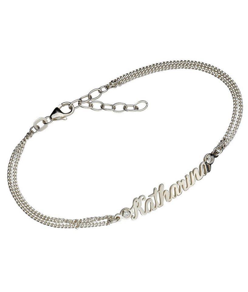 firetti Armschmuck: Namenskette als Armband in Panzerkettengliederung mit gratis Gravur in Silber 925