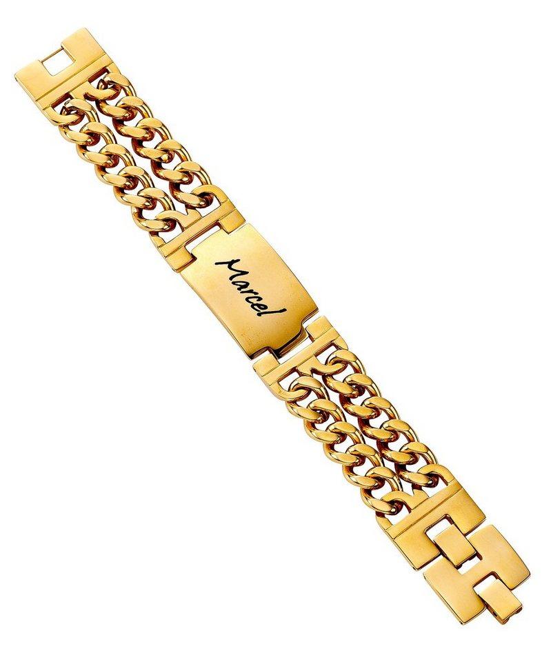 firetti Armschmuck: ID-Armband in Panzerkettengliederung, mehrreihig mit gratis Gravur in goldfarben