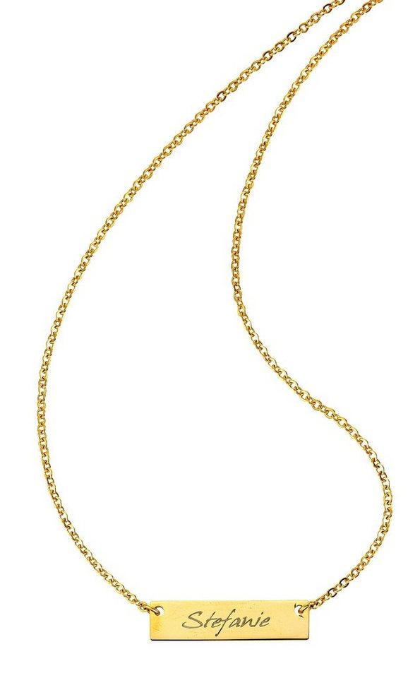 Firetti Namenskette »mit ID-Platte für kostenlose Gravur« | Schmuck > Halsketten > Ketten mit Gravur | Goldfarben | Firetti