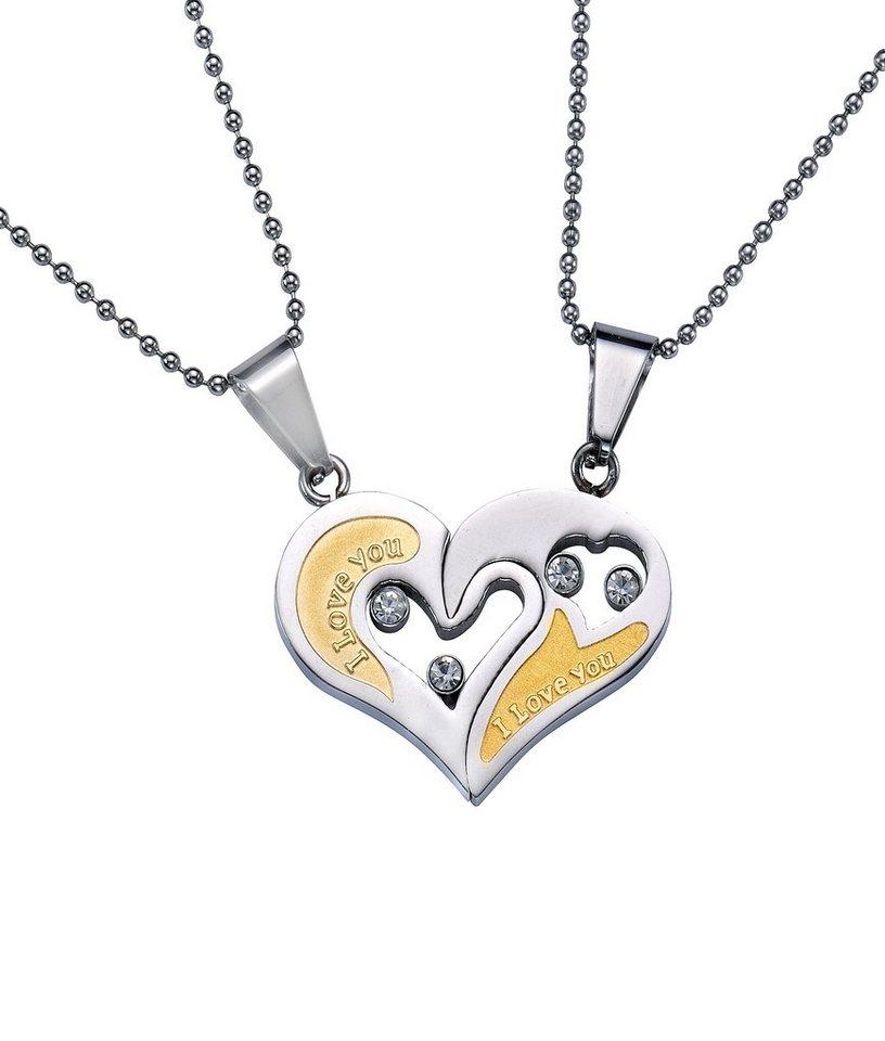 firetti Partnerschmuck: Schmuckset Halsketten m. Anhänger (Set, 4 tlg.) Gravur »I LOVE YOU«, »HERZ« in silberfarben/goldfarben