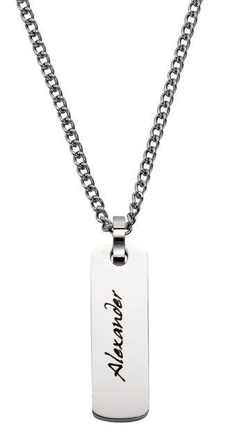 firetti Halsschmuck: Halskette in Panzerkettengliederung mit Kettenanhänger mit gratis Gravur | Schmuck > Halsketten > Ketten mit Gravur | Firetti