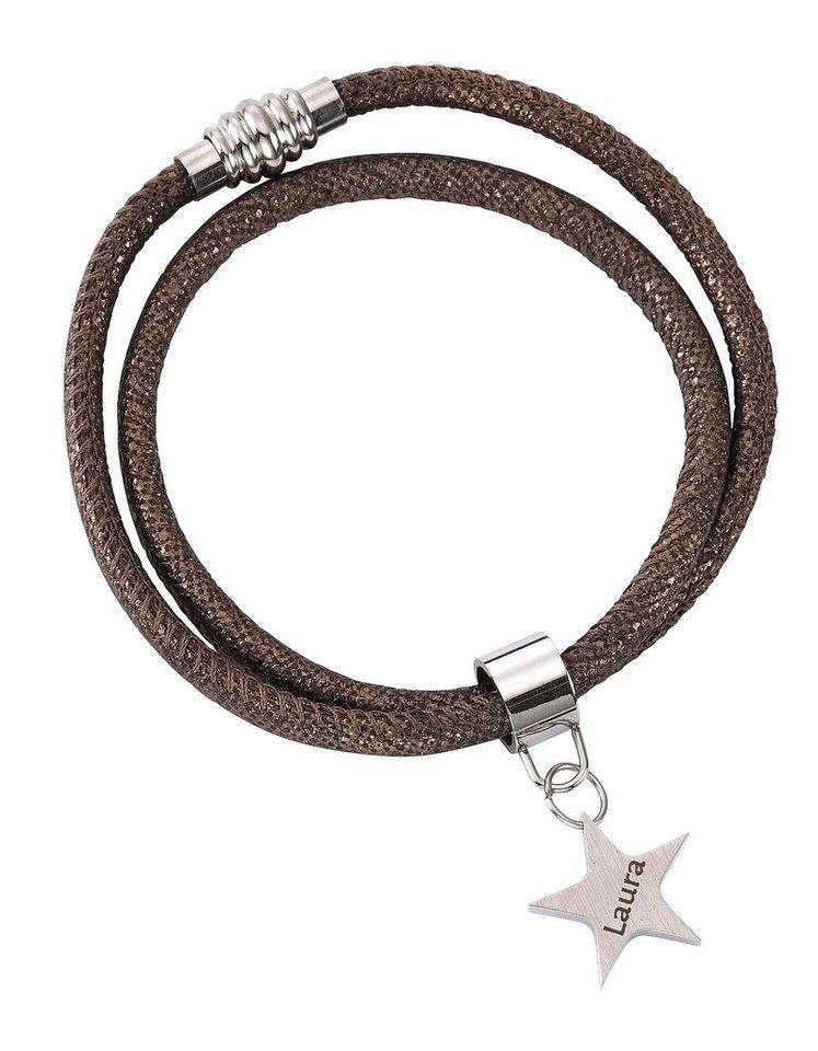 firetti Armschmuck: ID-Armband aus Leder zum Wickeln / Wickelarmband mit gratis Gravur, »Stern« in silberfarben/braun