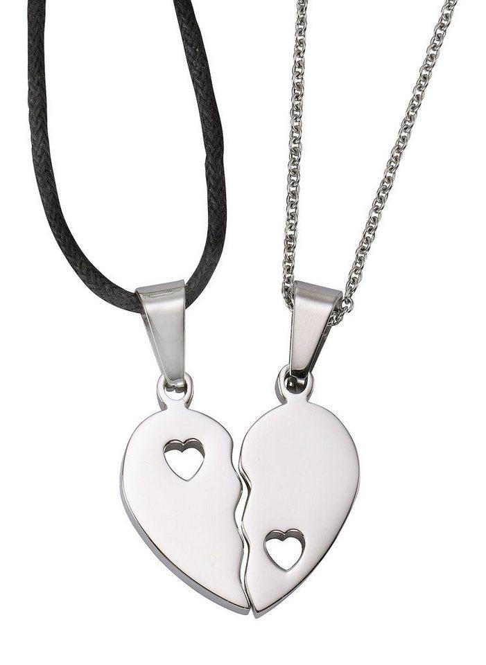 firetti Partnerschmuck: Schmuckset 2 Halsketten mit Anhänger (Set, 4 tlg.) , »Herz« in silberfarben/schwarz