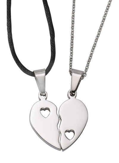 Firetti Schmuckset »Partnerschmuck: 2 Halsketten mit Anhänger Herz« (4-tlg)