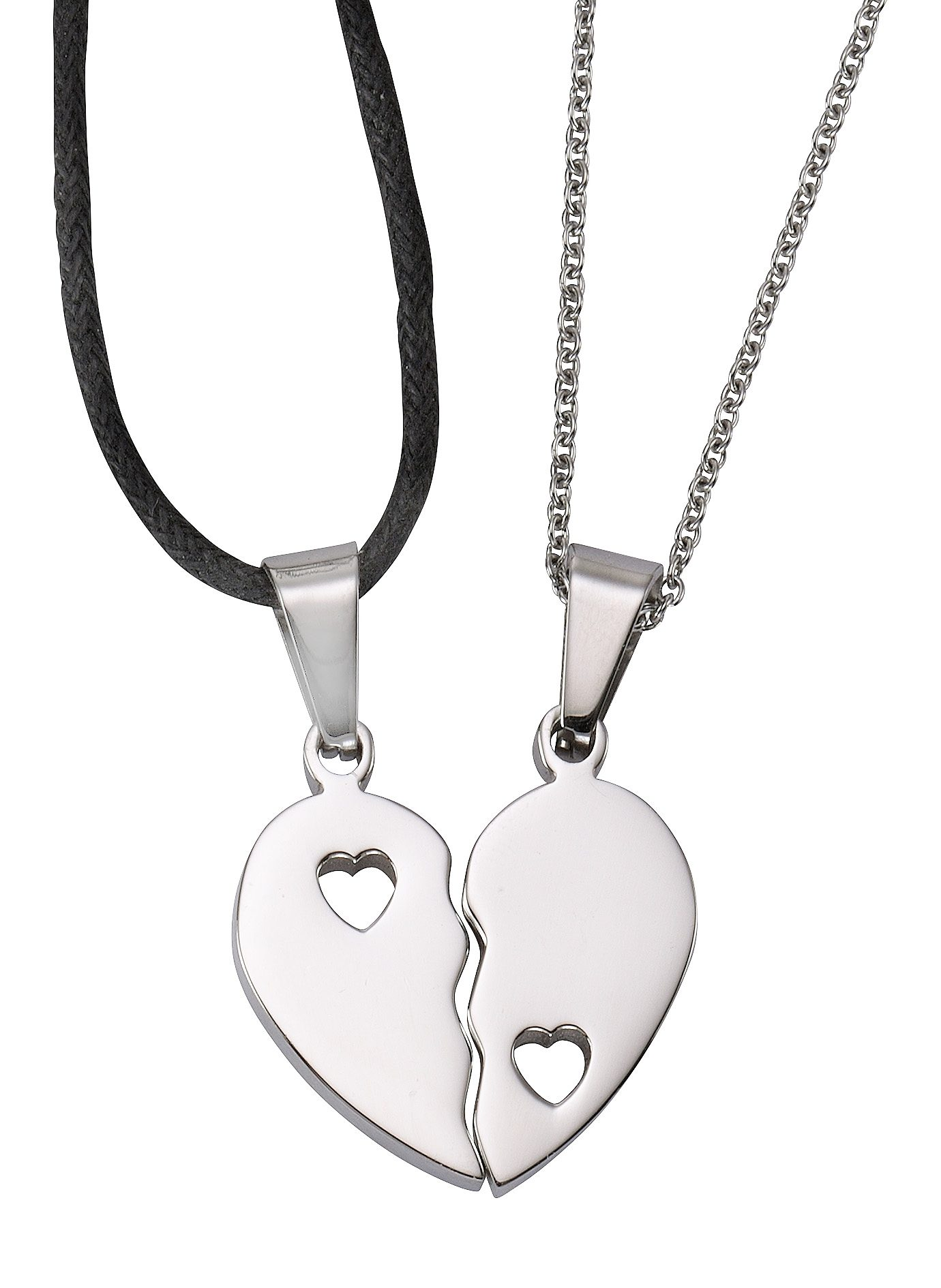 firetti Partnerschmuck: Schmuckset 2 Halsketten mit Anhänger (Set, 4 tlg.) , »Herz«