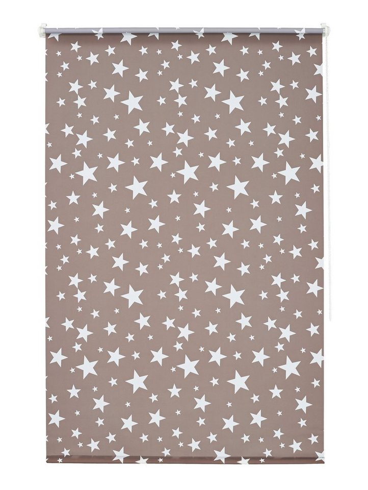 Seitenzugrollo, My Home, »Sanya«, Sterne, Lichtschutz, Fixmaß, ohne Bohren in taupe