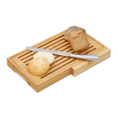 relaxdays Brotschneidebrett »Brotschneidebrett mit Messer«, Bambus