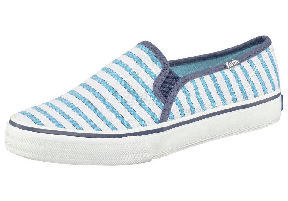 Keds Double Decker Cabana Stripe Sneaker in Weiß-Hellblau