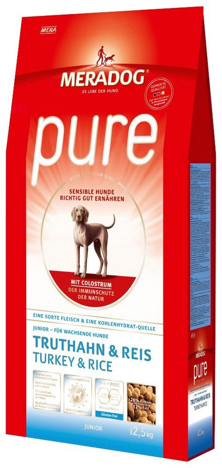 Hundetrockenfutter »Pure Junior Truthahn & Reis«, 12,5 kg in braun
