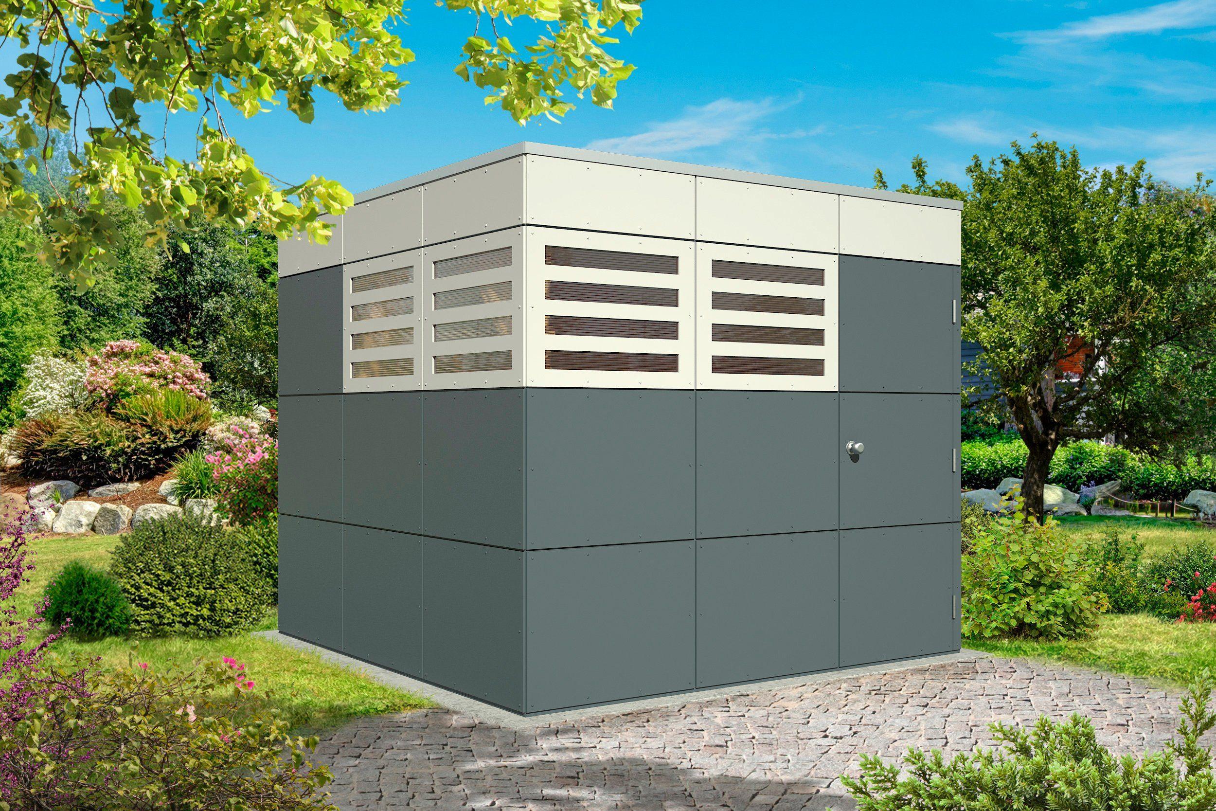 SKANHOLZ Gartenhaus »CrossCube Perth 3«, BxT: 253x253 cm, dunkelgrau/hellgrau