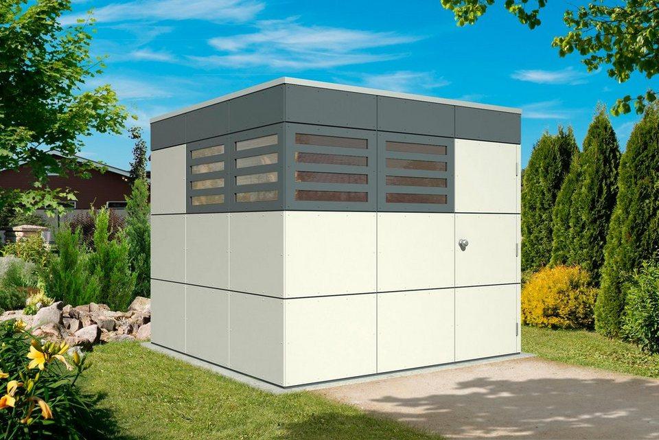 SKANHOLZ Gartenhaus »CrossCube Sydney 3«, BxT: 253x253 cm, hellgrau/dunkelgrau in hellgrau/dunkelgrau
