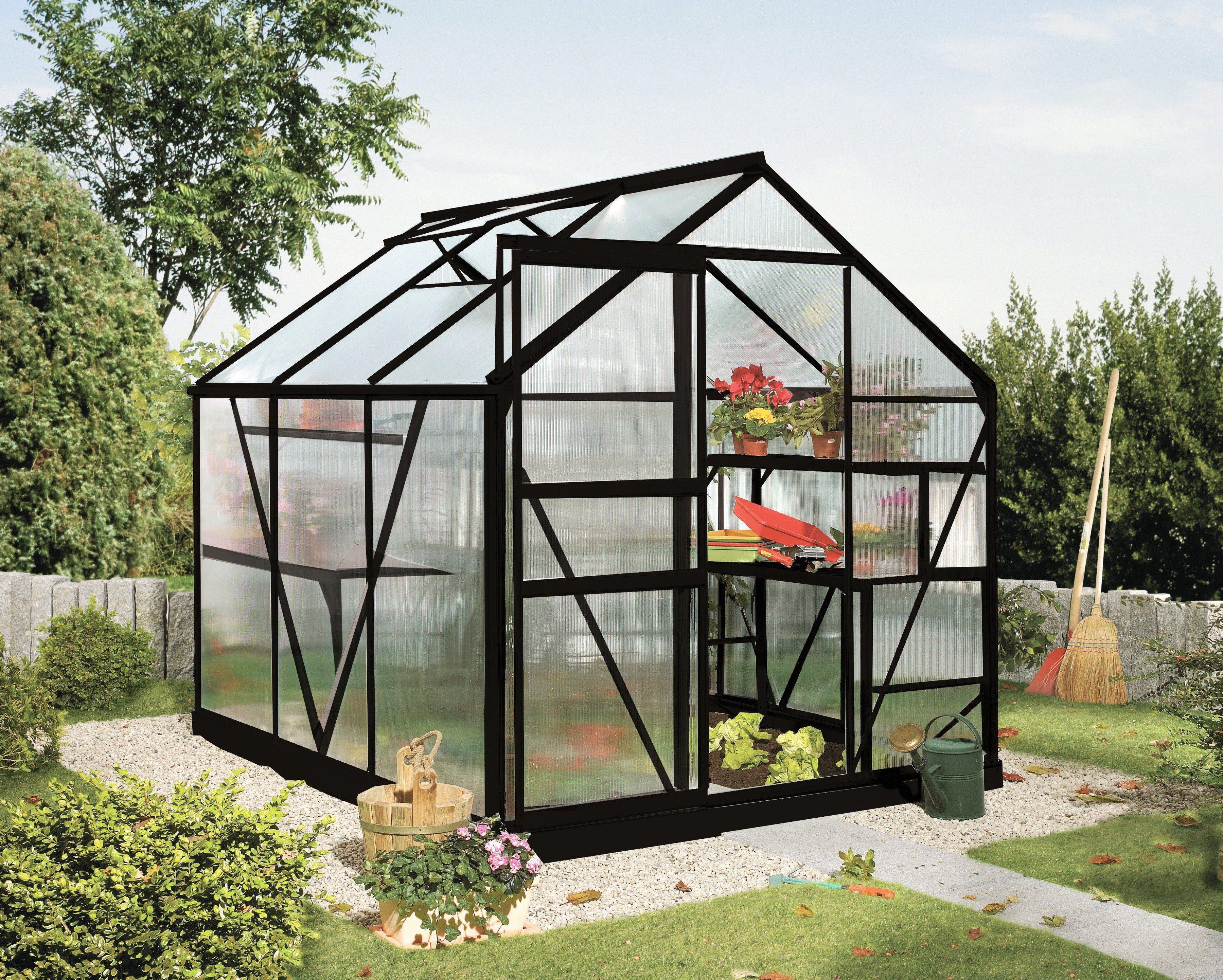 VITAVIA Gewächshaus »Calypso 4400«, BxT: 192x228 cm, schwarz