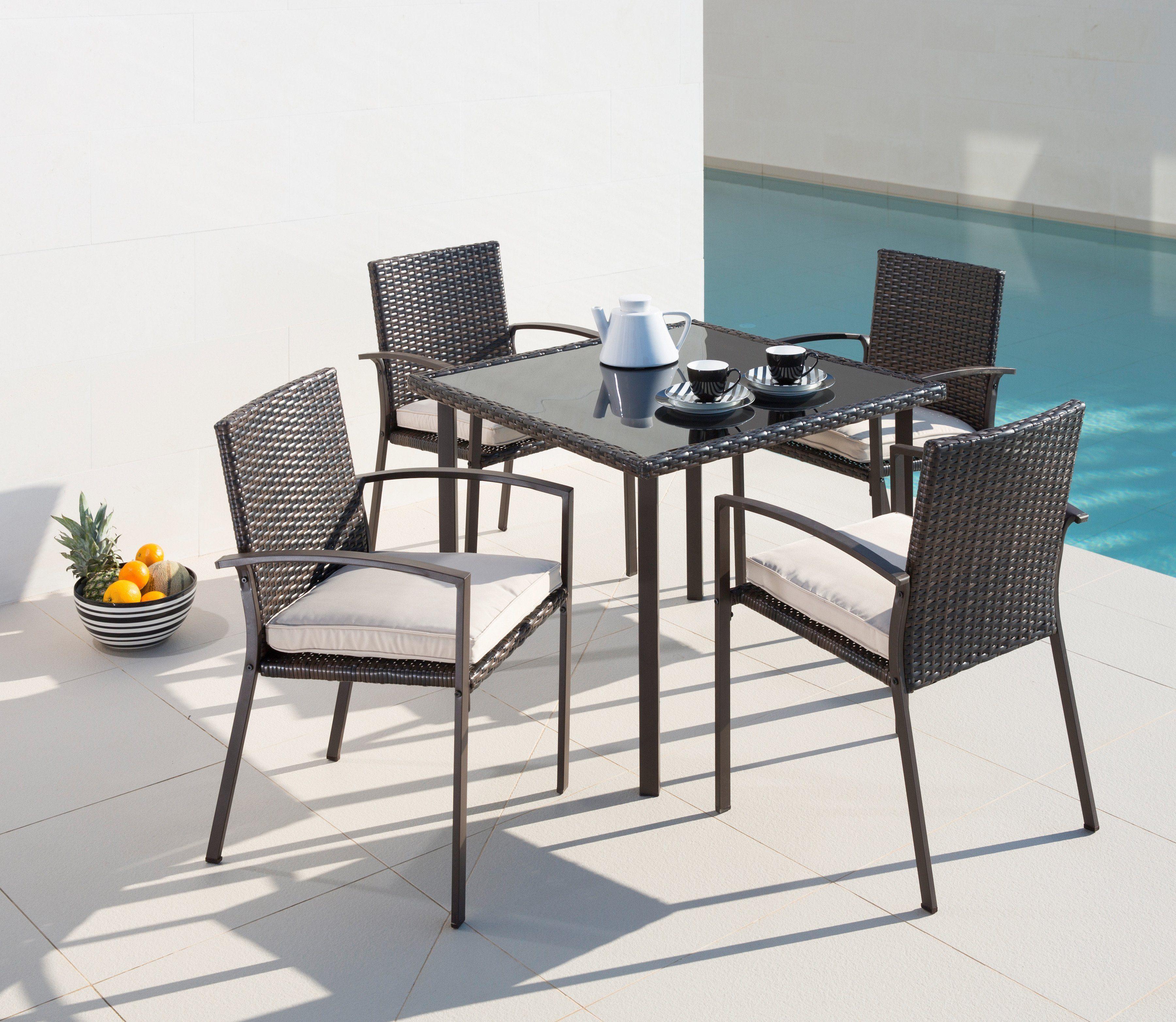 9-tgl. Gartenmöbelset »Victoria«, 4 Sessel, Tisch 90x90 cm, Polyrattan, braun