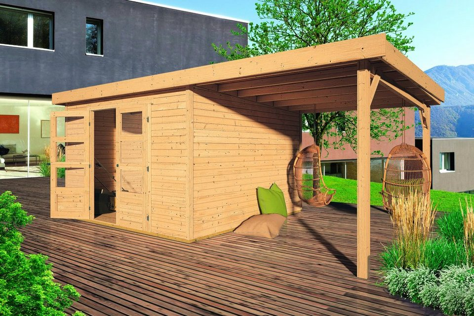 KARIBU Gartenhaus »Arnis 4«, BxT: 302x242 cm, inkl. Aufbau und Anbau (220 cm breite) in natur