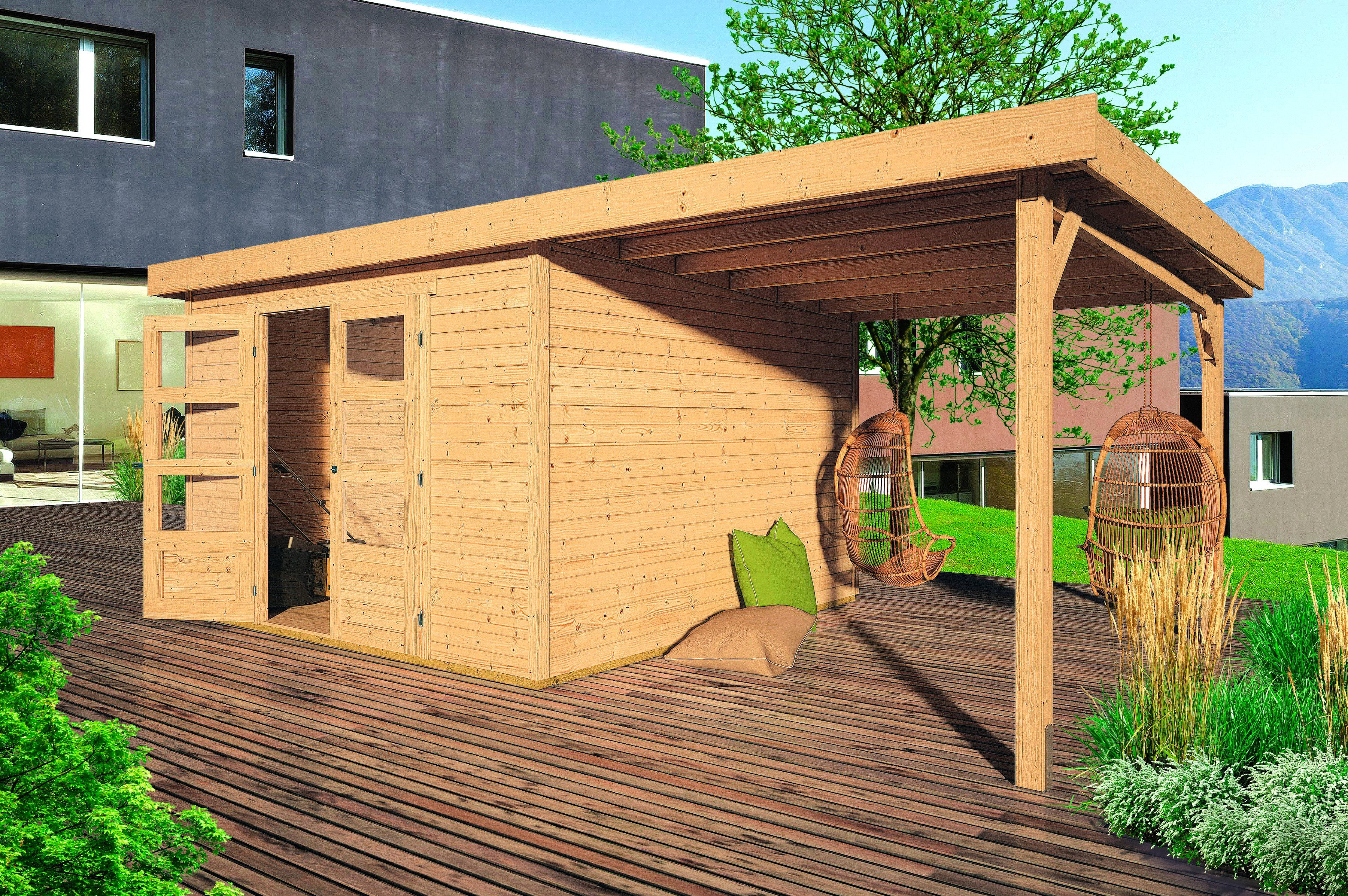 KARIBU Gartenhaus »Arnis 4«, BxT: 302x242 cm, inkl. Aufbau und Anbau (220 cm breite)