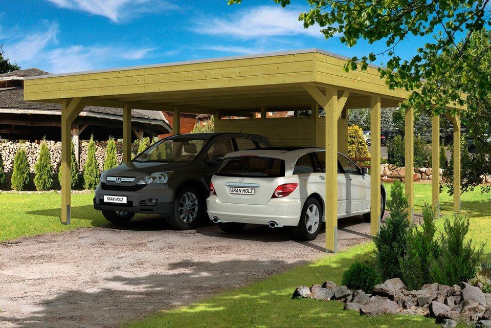 Set: Doppelcarport »Friesland«, mit Abstellraum und Aluminium-Dachplatten in grün