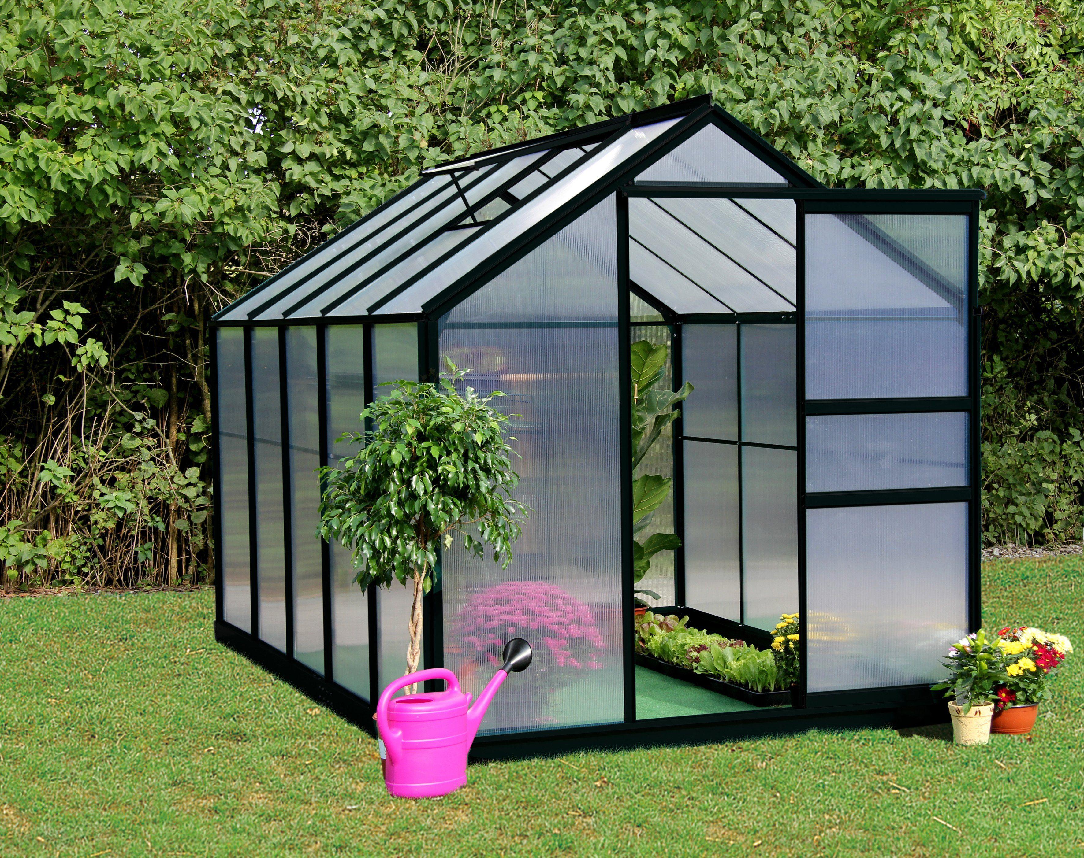 Gartenpro Komplett-Set: Gewächshaus »PRIME D«, BxT: 190x312 cm, anthrazit