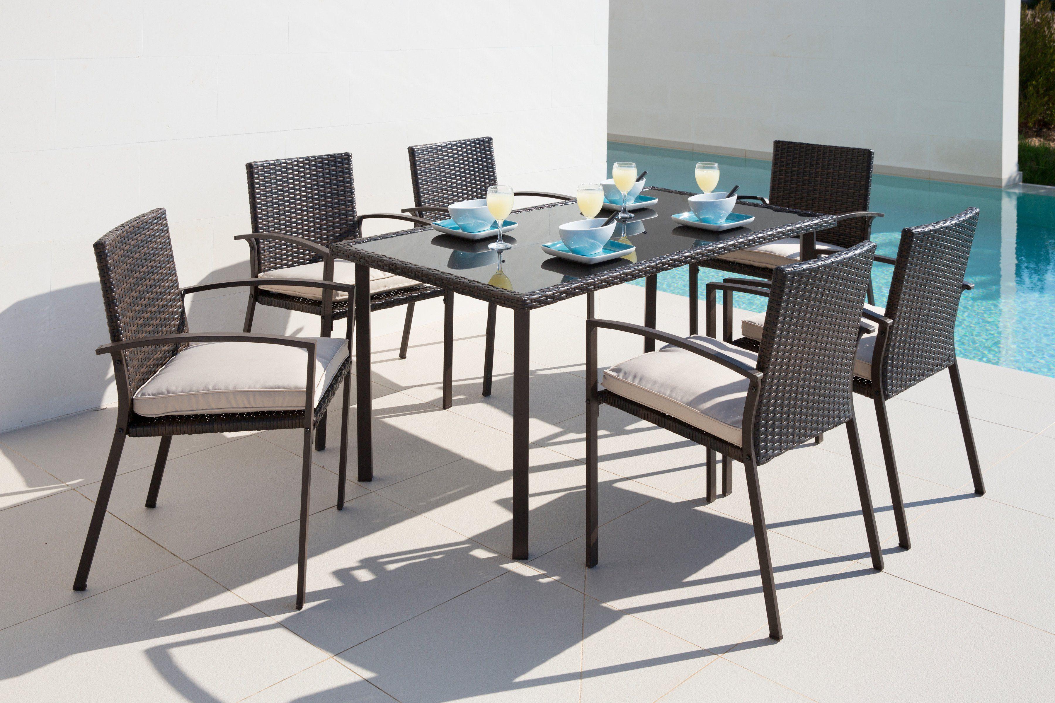 13-tlg. Gartenmöbelset »Victoria«, 6 Sessel, Tisch 150x80 cm, Polyrattan, braun