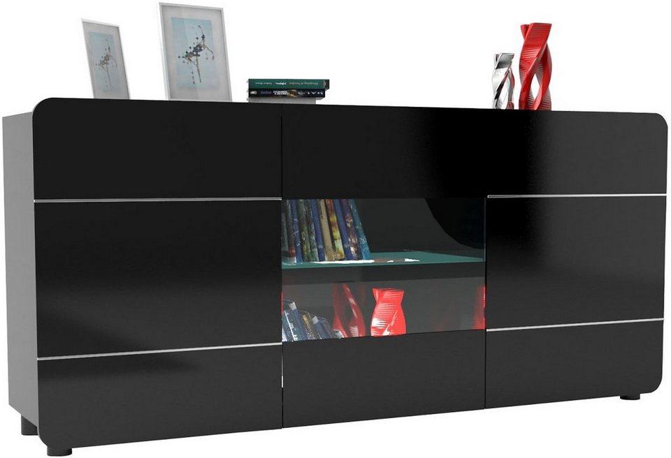 S.C.I.A.E. Sideboard »Bump«, Breite 180 cm in schwarz Hochglanz