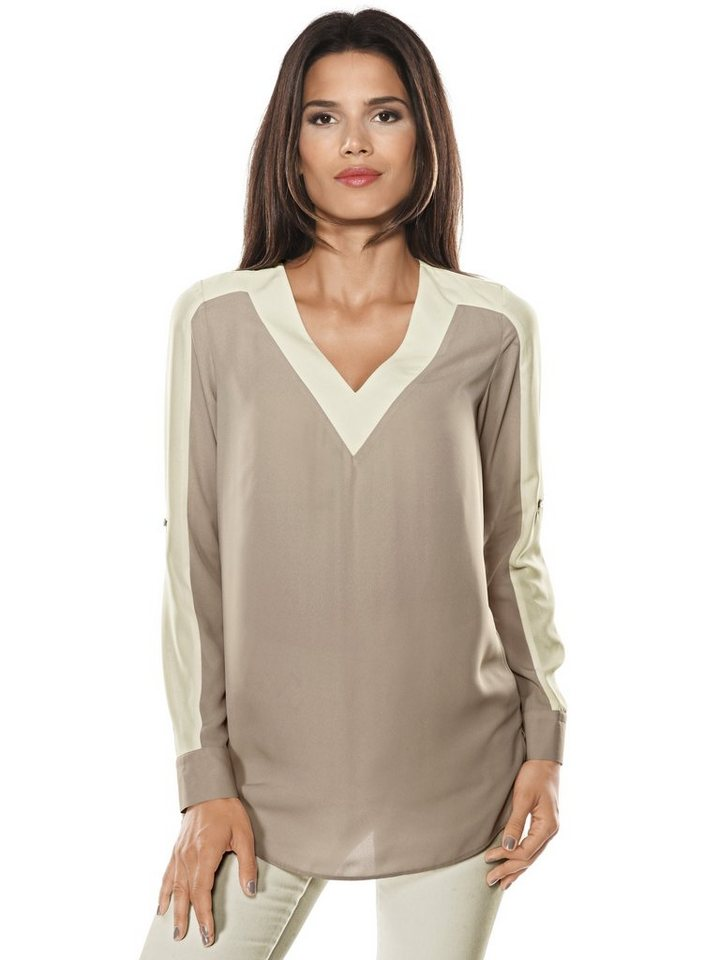 Longbluse in beige/offwhite