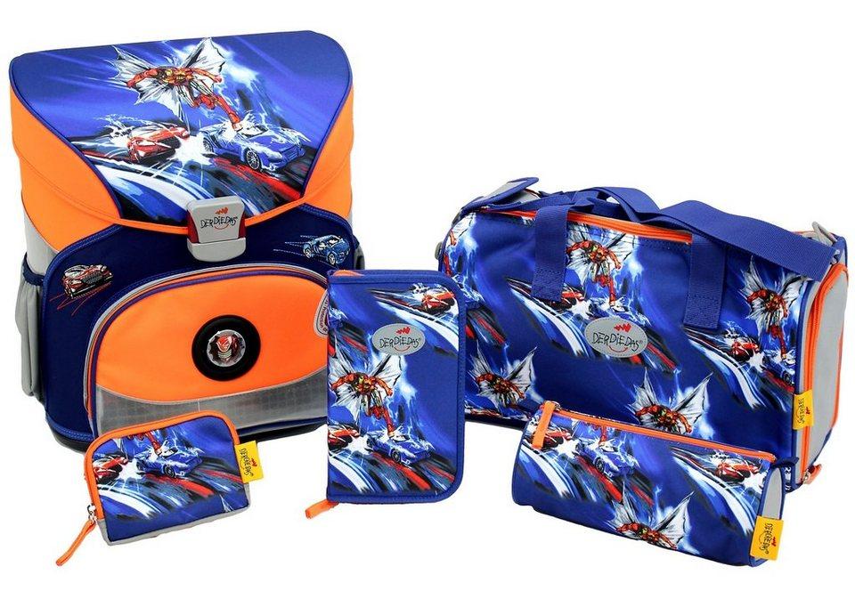DerDieDas Schulranzen Set (5tlg.), »Fliegengewicht XS - Superheld« in blau