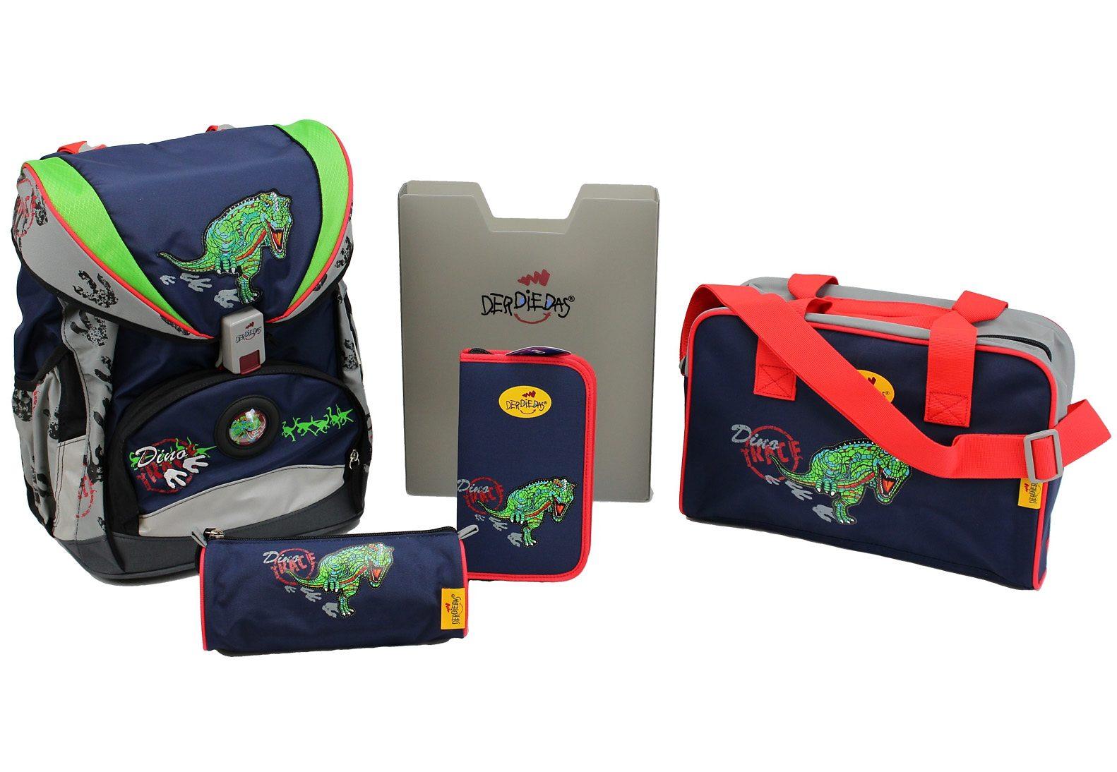 DerDieDas Schulrucksack Set (5tlg.), »ErgoFlex - Dino Trace«