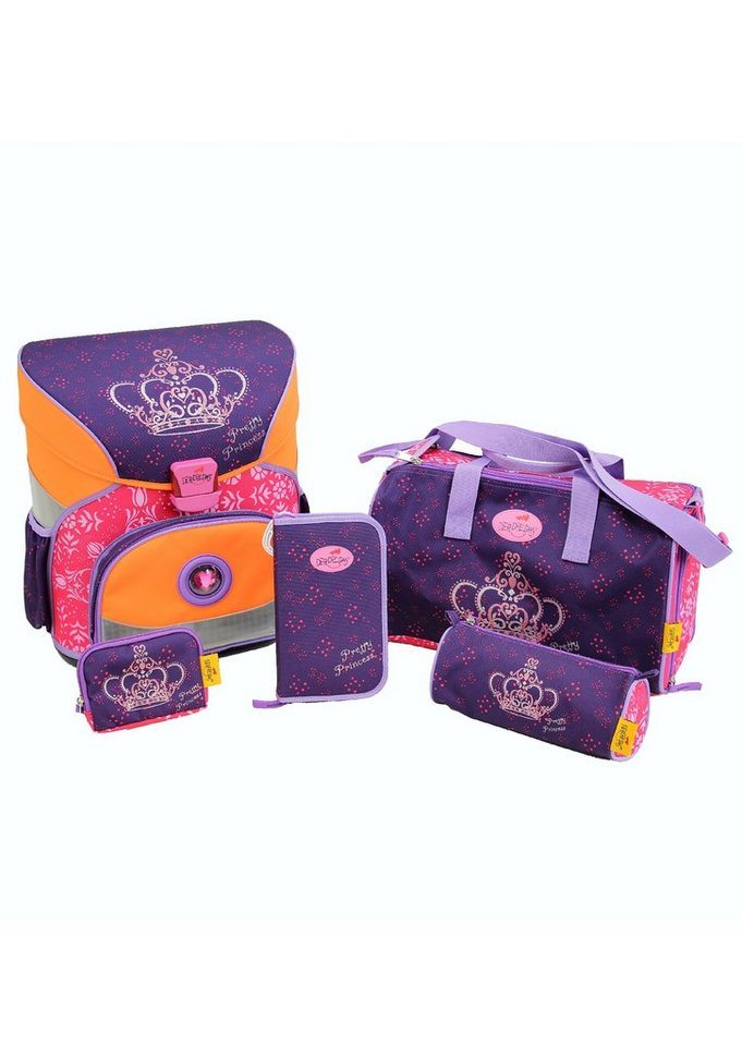 DerDieDas Schulranzen Set (5tlg.), »Fliegengewicht XS - Princess Crown« in lila